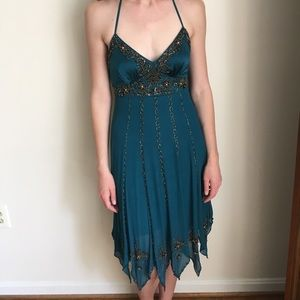 Teal beaded Sue Wong dress